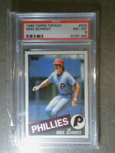 MIKE-SCHMIDT-1985-Topps-Tiffany-500-Vintage-Graded-Card-PSA-8-PHILLIES