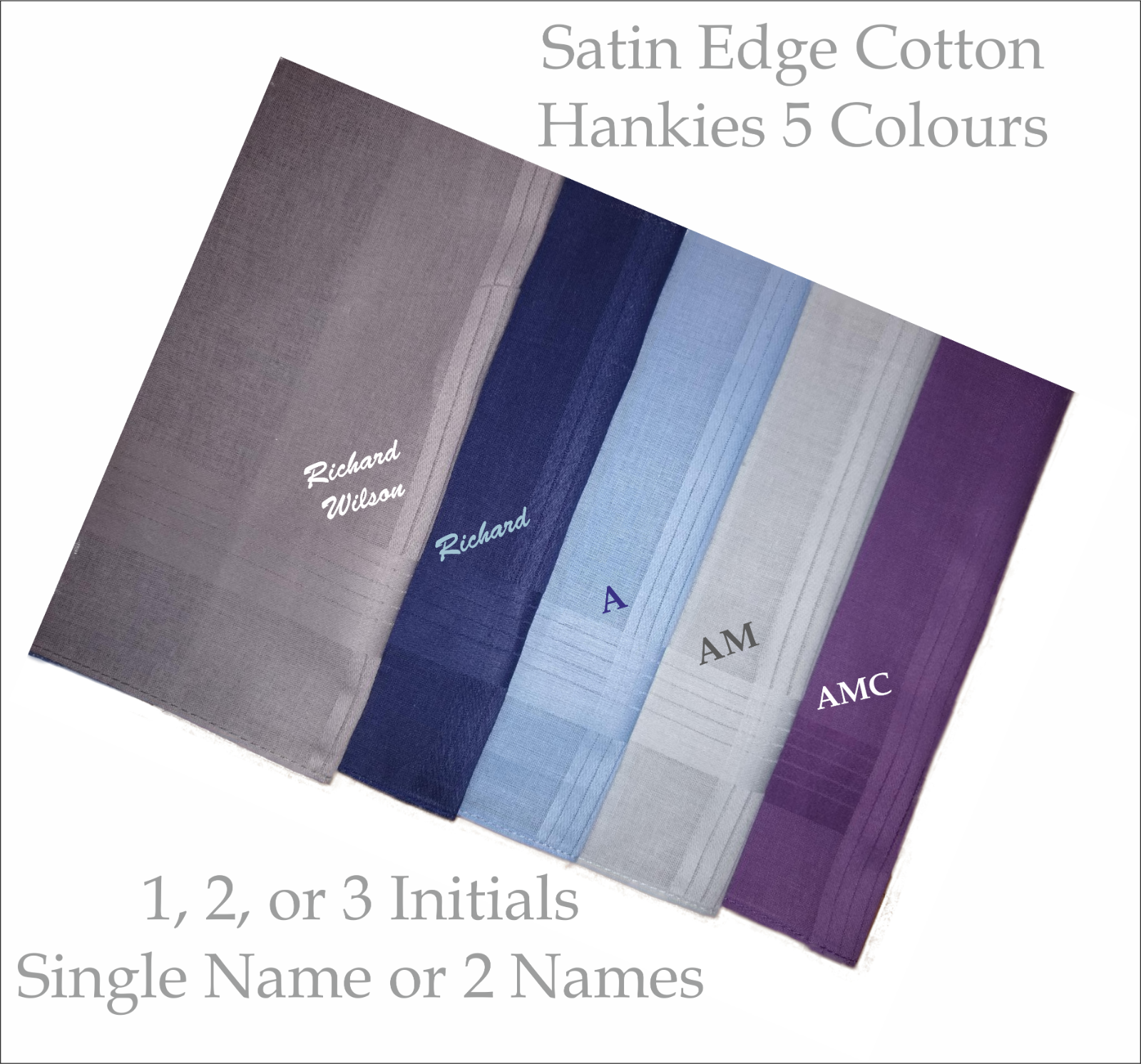 Monogram Embroidered Handkerchiefs Hankies 5 Colours 1,2,or 3 Initials or Name