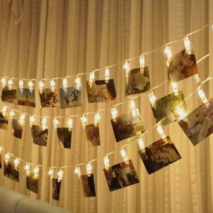 10LED-Foto-Scheda-Clip-Stringa-Fairy-Luce-Matrimonio-Casa-da-Parete-Decorazione