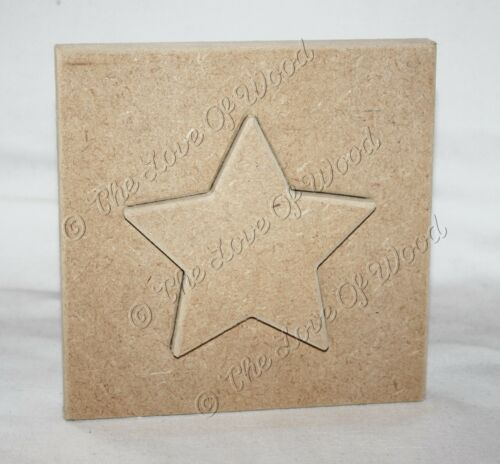 Free standing STAR IN A BLOCK craft shape MDF 18mm thick