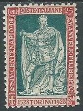 1928 REGNO FILIBERTO E VITTORIA 25 CENT D. 11 MH * - W260