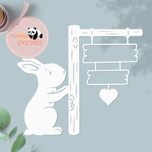 Rabbit Sign Post Metal Cutting Dies Stencils For Scrapbooking Photo Album Card