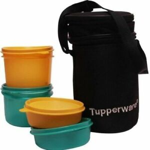 TUPPERWARE-EXECUTIVE-LUNCH-BOX-SET-OF-4-BOWL-INSULATED-BAG-AIR-amp-WATER-TIGHT