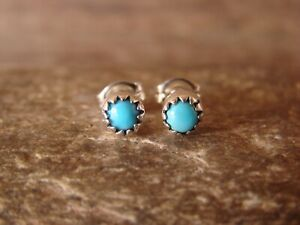 Native-American-Indian-Jewelry-Sterling-Silver-Turquoise-Micro-Dot-Post-Earri