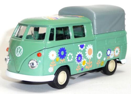 "VW Bulli T1 Doppelkabine Plane grün /""Hippie/"" Modellauto 1:37 Spritzguss WELLY"