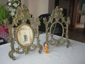 Paire-de-Grand-et-anciens-portes-photo-bronze-Style-Rocaille