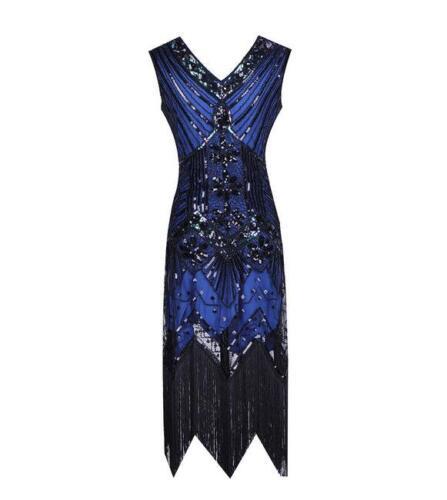 1920s V Neck Sequins Beaded Fringe Vintage Evening Long Prom Flapper Dress UK
