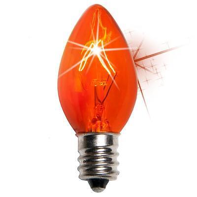 Orange Triple Dipped Transparent Christmas Bulbs Box of 25 C7 Twinkle Amber