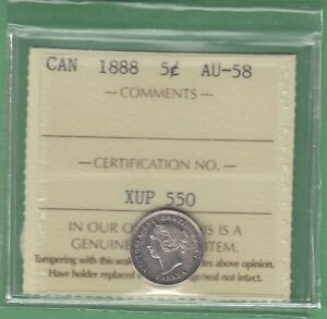 1888-Canada-5-Cents-Silver-Coin-ICCS-Graded-AU-58