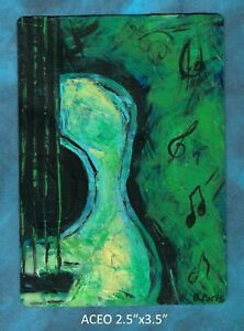 Original-ACEO-Guitar-green-miniature-acrylic-painting-not-framed
