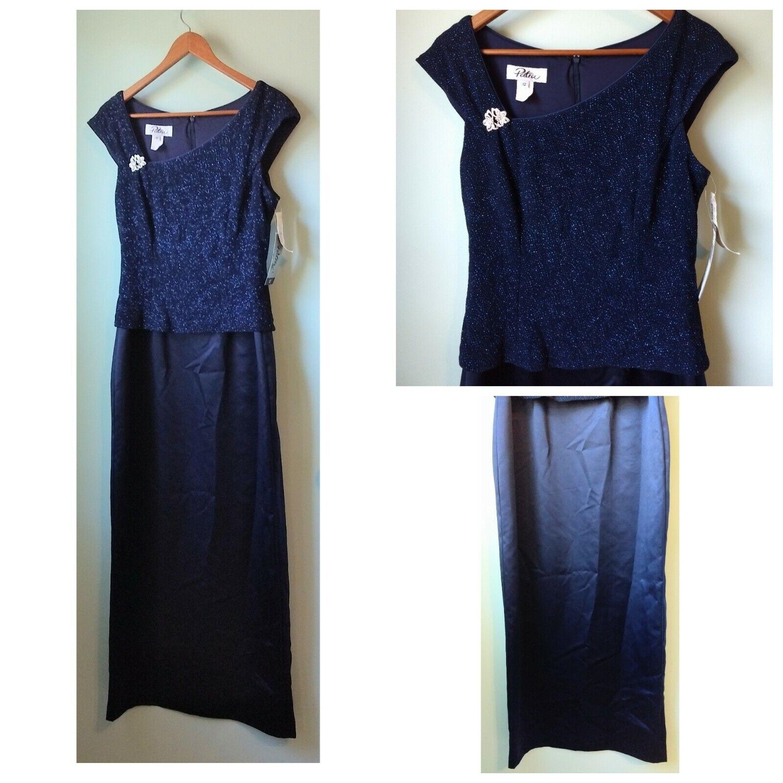Patra navy bluee Dress Size 12 Sparkle formal long satin dress fitted wedding