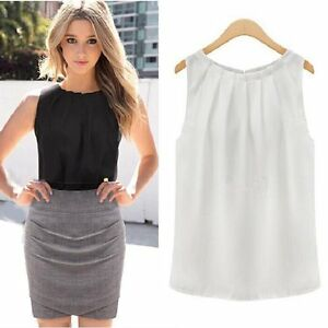 4dfe9b4f1eb NEW Women Summer Loose Casual Sleeveless Vest Tank T-Shirt Chiffon ...