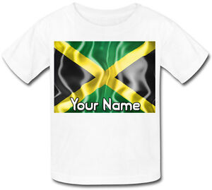 Drapeau-jamaique-jamaicain-personnalise-Kid-039-s-sublimation-t-shirt-nomme-Cadeau-Enfant