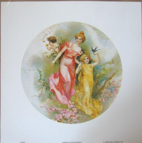 art print~ BABES IN THE WOODS II~Mother children bird butterflies vtg 12.5x12.5