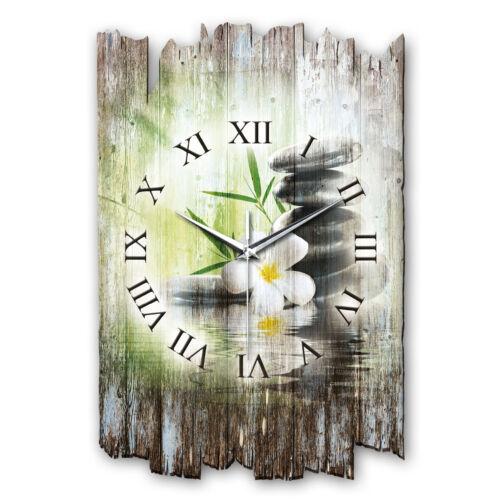 Relax Flower Landhaus Shabby Funk Wanduhr leise Funkuhr aus Holz *Kreative Feder