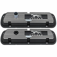 1967 70 Cougar Valve Covers 289 302 351w Xr7 Mercury Ford Black / Brushed