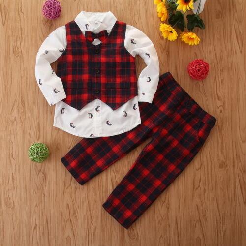 3Pcs Boys Christmas Shirt Vest Pants Sets Kids Xmas Plaid Jacket Trousers Outfit