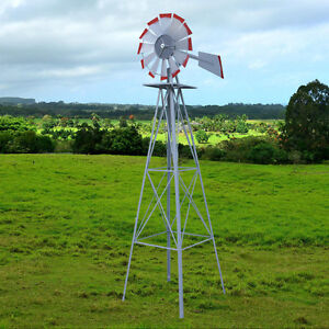 Image Is Loading Metal 8FT Windmill Yard Garden Decoration Weather Rust