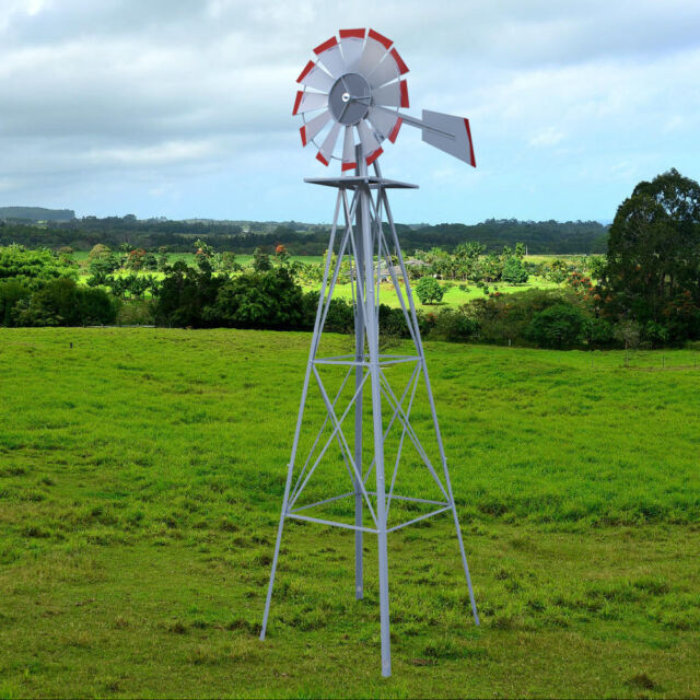 Etonnant Ornamental Windmill Tower Fan Blades Weather Wheel Wind Speed Heavy Steel  Garden