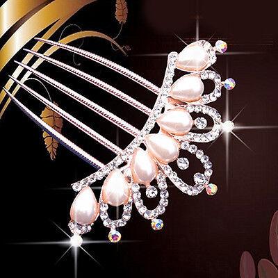 Crystal Rhinestone Pearls Hairpin Flower Diamante Hair Clip Comb Wedding Jewelry