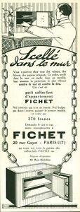Publicité ancienne coffre-fort scellé dans le mur Fichet 1925 issue magazine DAM