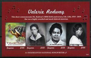 Guyana 2019 Neuf Sans Charnière Valerie Rodway Compositeur Hoazin Huppé 4 V M/s Music Oiseaux Timbres-afficher Le Titre D'origine