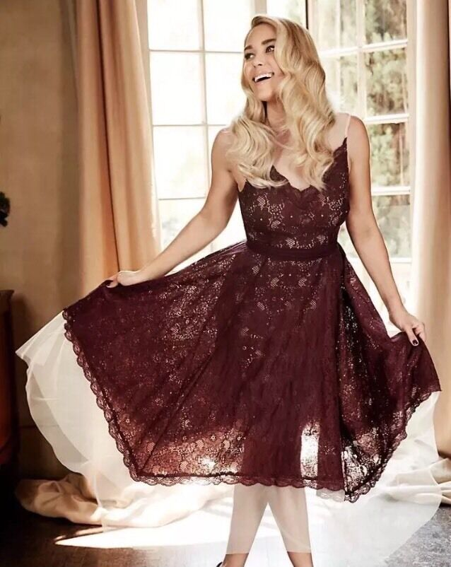 LC LAUREN CONRAD Runway Collection Size  2 Lace Midi Dress NEW
