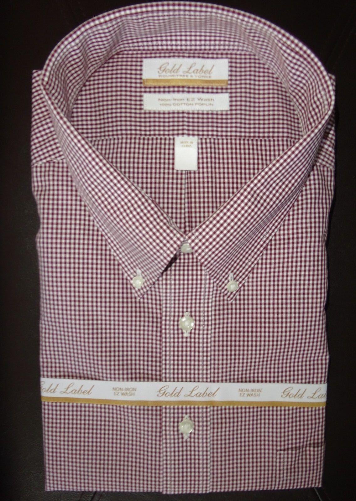Roundtree Yorke Dress Shirt  Burgundy Gingham Pattern 18.5 - 36 37 BIG - NWT