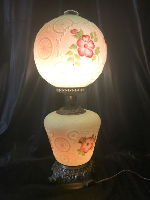Details About Gone With The Wind Globe Glass Hurricane Lamp Antique Floral Electric Gwtw