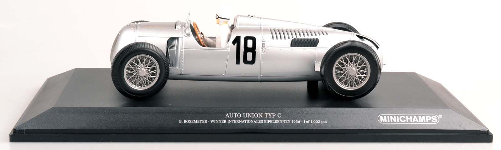 MINICHAMPS 155361018 Auto Union Type C B. Rosemeyer Eifel Course 1936 1 18 Nouveau Neuf dans sa boîte