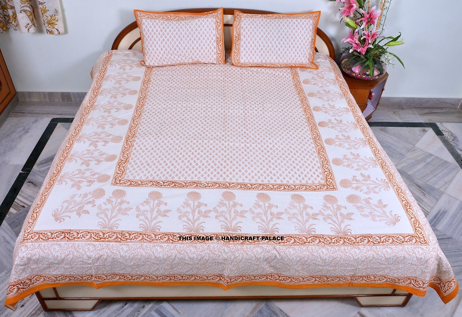 Indian Floral Print Queen Bedsheet Bed Cover Cotton Throw Ethnic Bed Decor Set