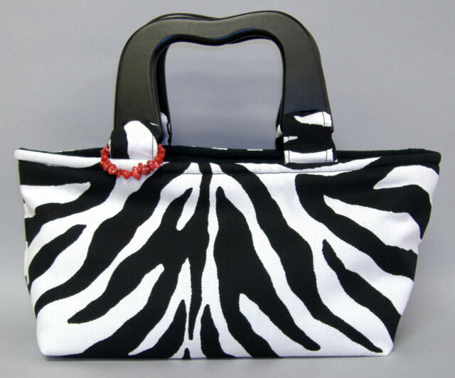 Meredith Zebra Stripe Purse Chic Handmade Black White Tote Fabric Bag New Gift