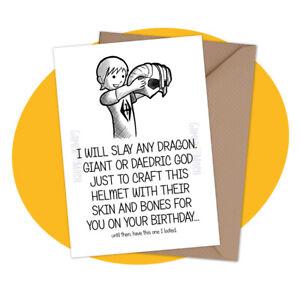 Dragonborn Helmet PERSONALISED BIRTHDAY CARD - elder scrolls skyrim personalized