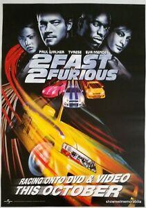 2 Fast 2 Furious 2003 Paul Walker Original Movie Poster Video Release Ebay