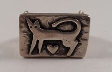 Sterling Silver Modernist Cat Heart Protruded Ring Size 8