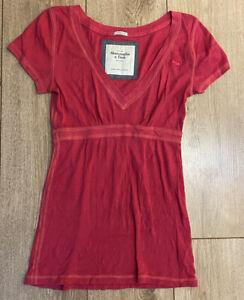 Abercrombie-amp-Fitch-Women-039-s-T-Shirt-Pink-Short-Sleeve-Medium-Cotton-Blend