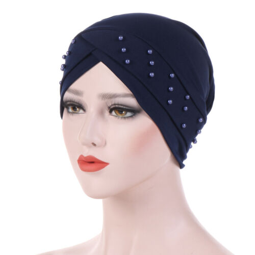 Frauen Elastic Turban Hut Muslim Cap Hijab Kopftuch Wrap Cover Bead Solid Color