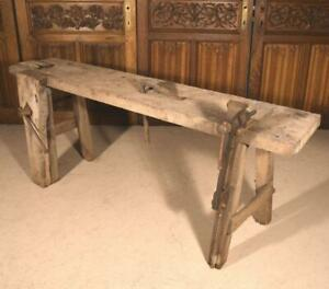 Prime Details About Antique French Workbench In Solid Oak Use As Sideboard Buffet Console Table Caraccident5 Cool Chair Designs And Ideas Caraccident5Info