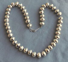 "Heavy Navajo Hand Made Sterling Silver Stamped Bead Necklace 22 3/4"" ~ New"