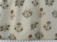 Drapery Upholstery Fabric Blended Linen Crewel Embroidered Floral Natural Multi