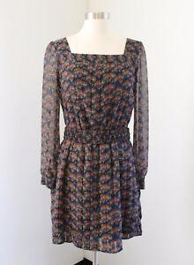 Banana-Republic-Floral-Print-Shirt-Dress-Size-2-Sheer-Sleeves-Blue-Black-Orange