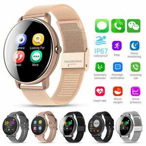 für Android IOS Smartwatch IP67 Sportuhr Armband Blutdruck Fitness Tracker DE