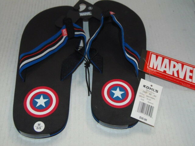 9e67e113cc52 Captain America Sandals Flip Flops Medium Mens Marvell Size 8 - 9 for sale  online