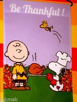 Peanuts Snoopy Be Thankful Thanksgiving Fall Small Flag Snoopy With Turkey