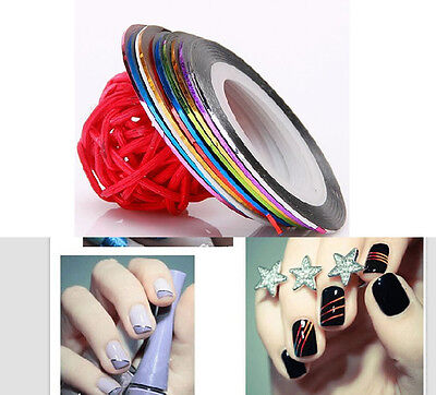 10 Pcs Mixed Colors Rolls Striping Tape Line Nail Art Tips Decoration Sticker