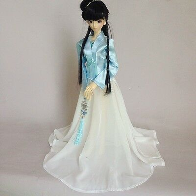 699# Blue&White Chinese Classical Dress/Outfit 1/4 MSD DZ AOD BJD Dollfie