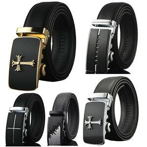Men-039-s-Dress-Belt-Genuine-Leather-Exact-Fit-Automatic-Buckle-Ratchet-Belt