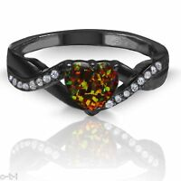 18k Black Gold Plated Heart Cut Simulated Black Fire Opal Diamond Infinity Ring
