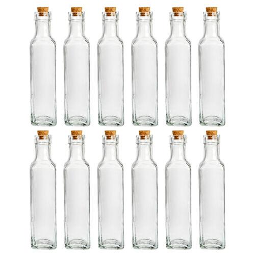 12 x Flaschen mit Korken Glasflaschen Essig Öl Wein Likör Vase Geschenkflasche