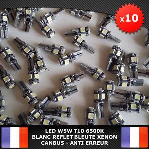 10-Veilleuses-LED-W5W-T10-Canbus-ANTI-ERREUR-ODB-6500k-XENON-5-SMD-voiture-moto